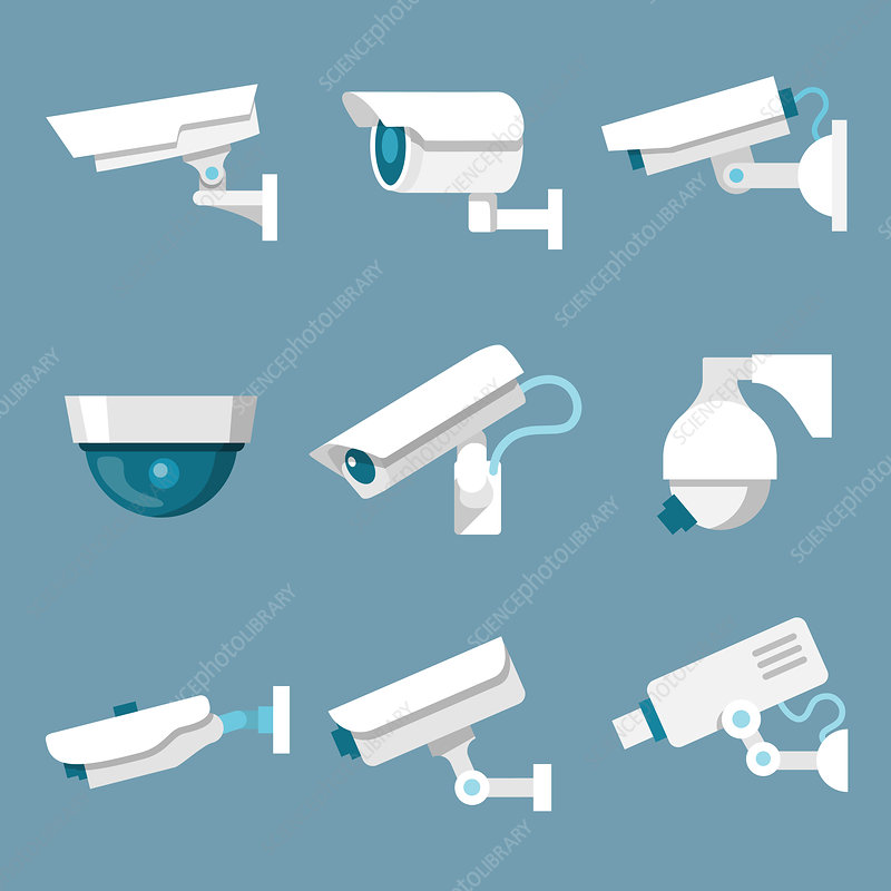 Surveillance icons, illustration