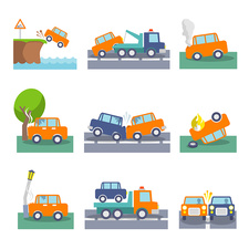 Car accident icons, illustration