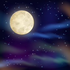 Night sky with full moon, illustration