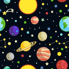 Planets and stars, illustration
