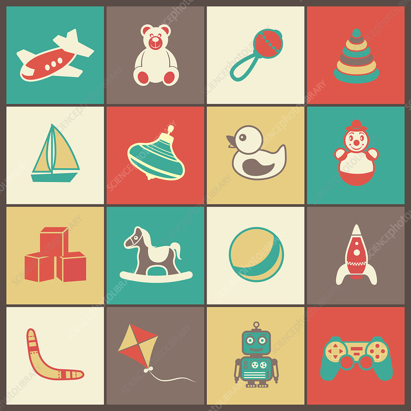 Toy icons, illustration