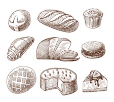 Bread and pastries, illustration
