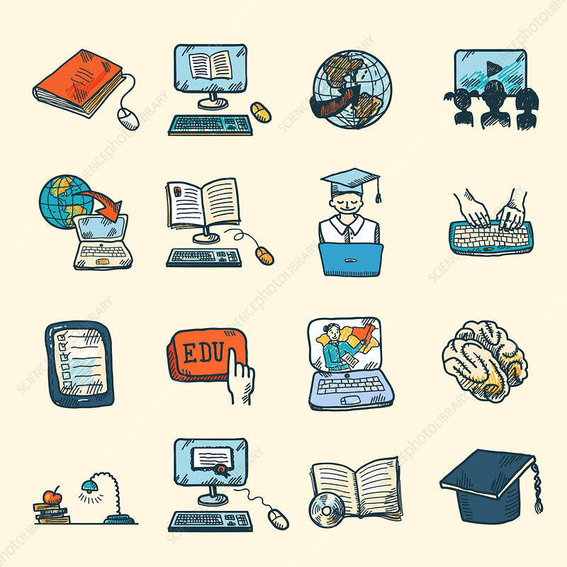 Education icons, illustration