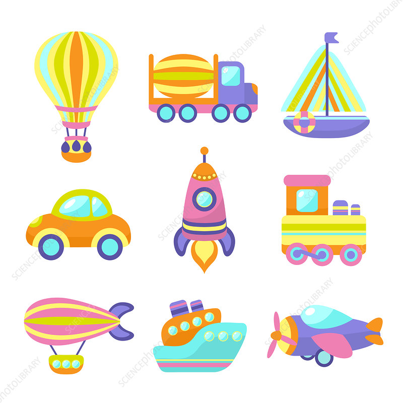 Toy transport icons, illustration