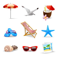 Beach holiday icons, illustration