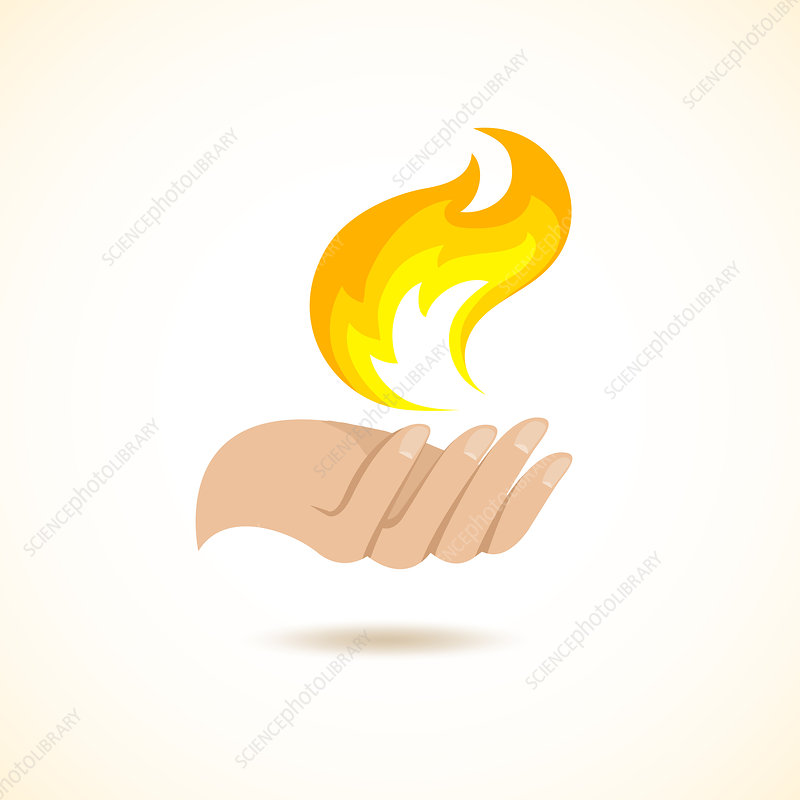 Hand with flame, illustration