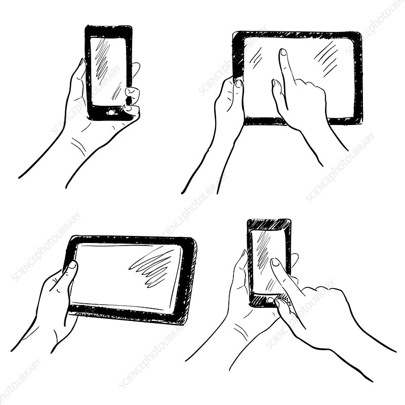 Touchscreen devices, illustration