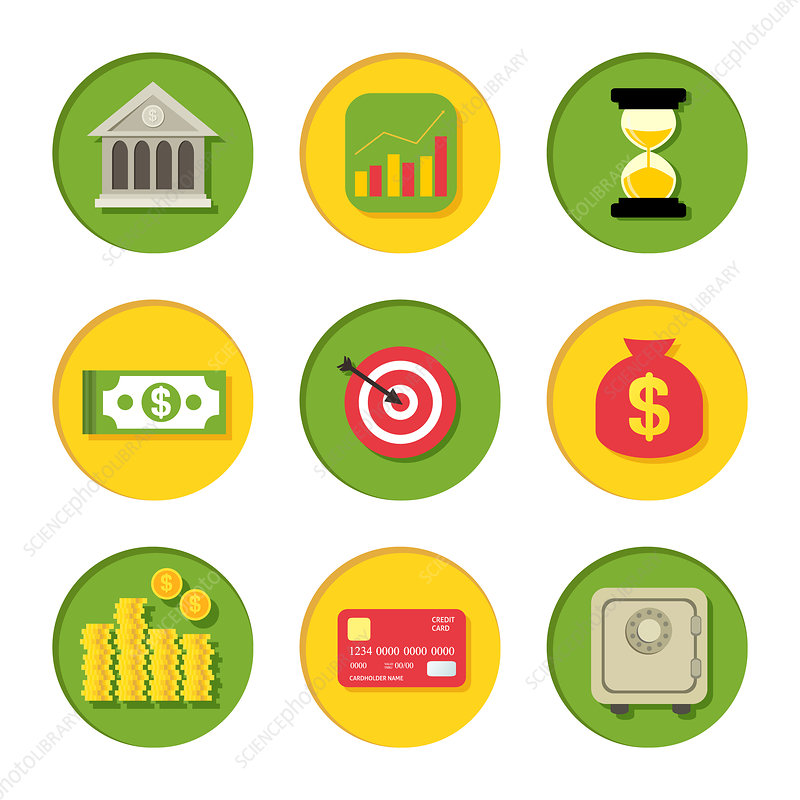 Finance icons, illustration