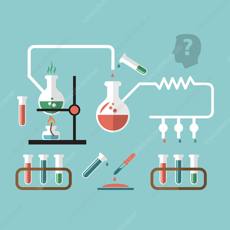 Chemistry experiments, illustration - Stock Image - F019