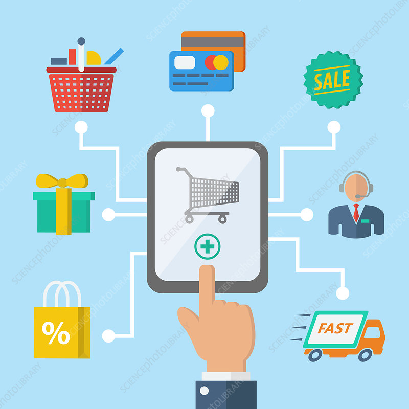 Online shopping, illustration