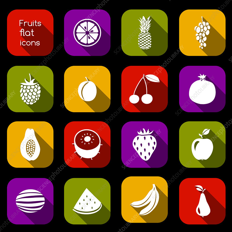 Fruit icons, illustration