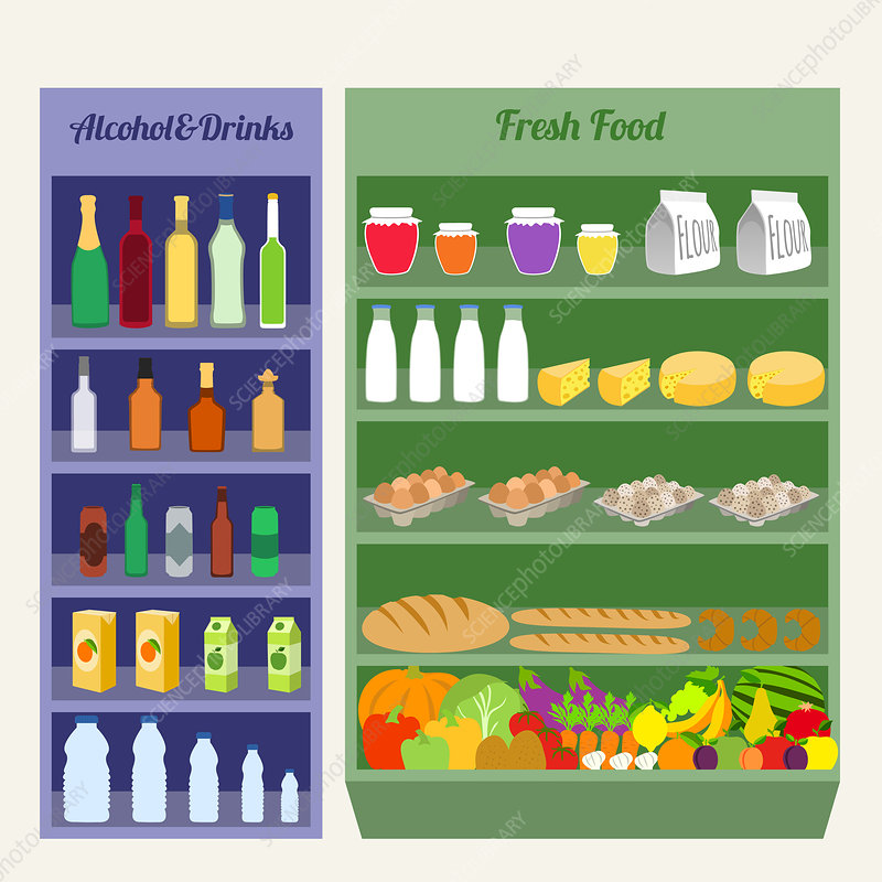 Supermarket shelves, illustration