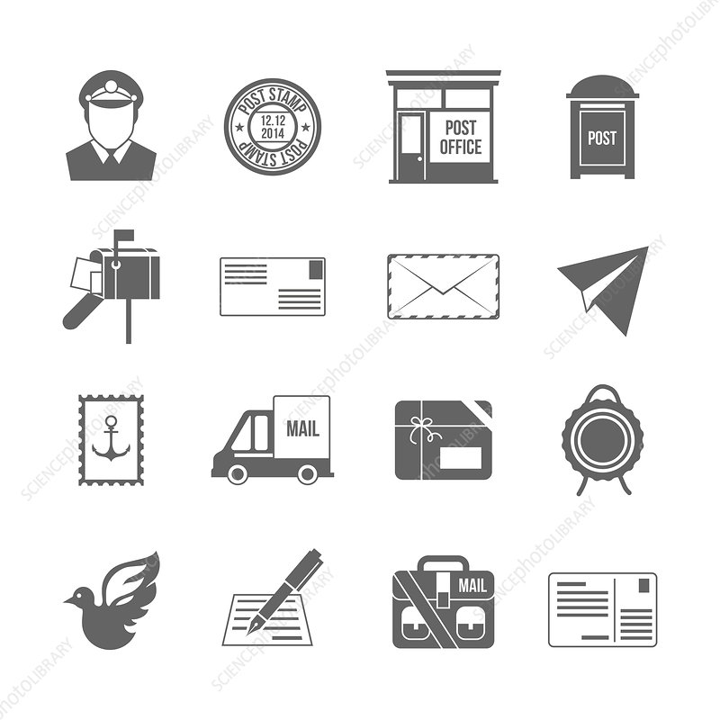 Postal service icons, illustration