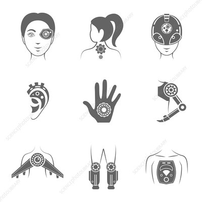 Cyborg icons, illustration