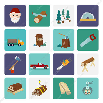 Logging icons, illustration