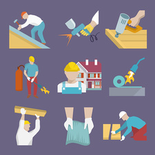 Roofing icons, illustration