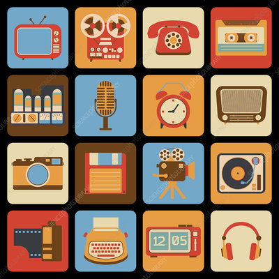 Retro gadget icons, illustration