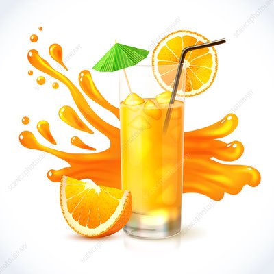 Orange juice, illustration