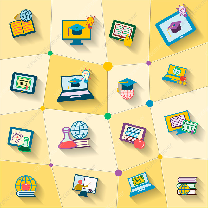 E-learning icons, illustration