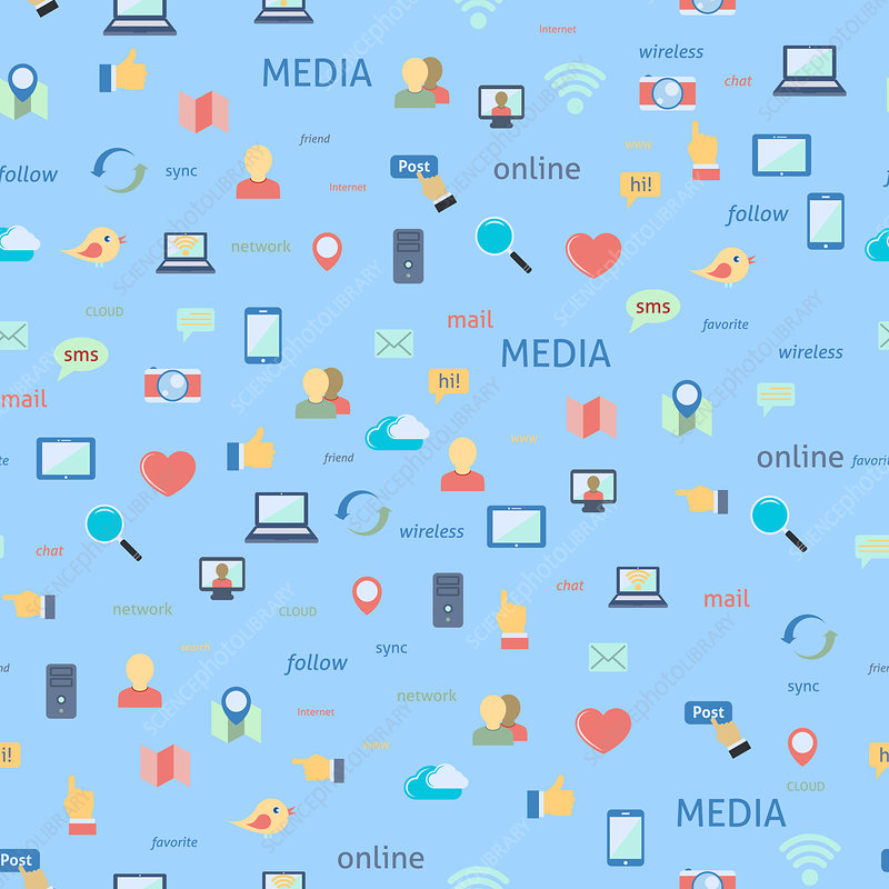 Social media icons, illustration