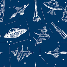 Spaceships and UFOs, illustration