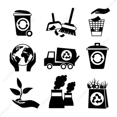 Ecology and recycling icons, illustration