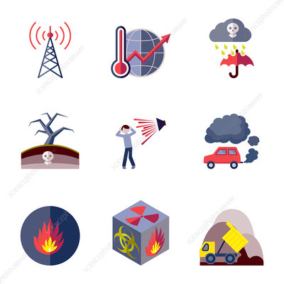 Pollution icons, illustration