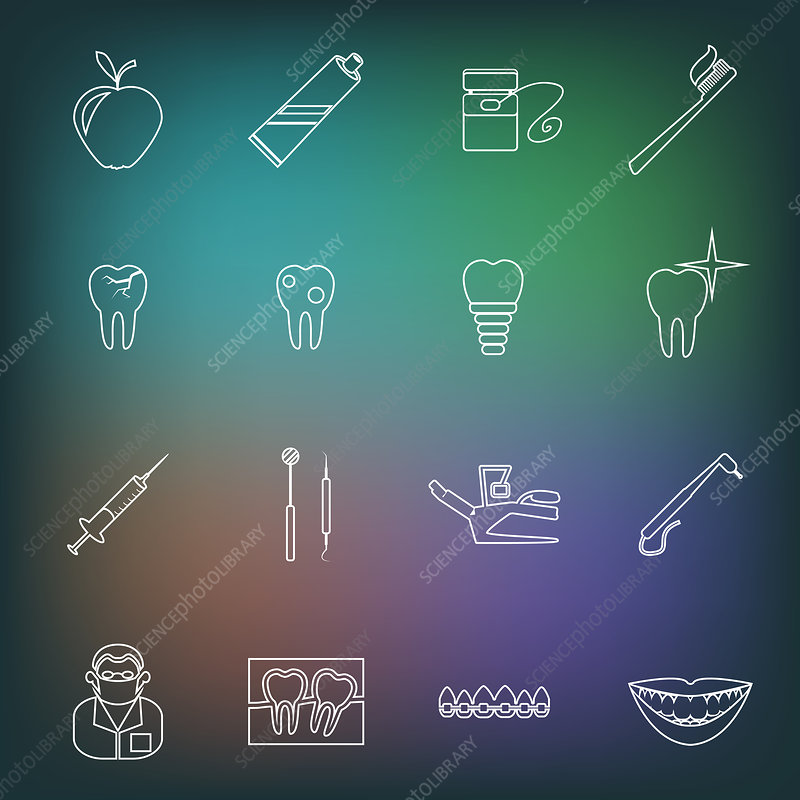 Dentistry icons, illustration