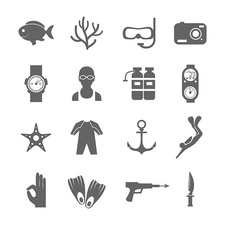 Diving icons, illustration