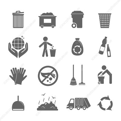 Cleaning icons, illustration