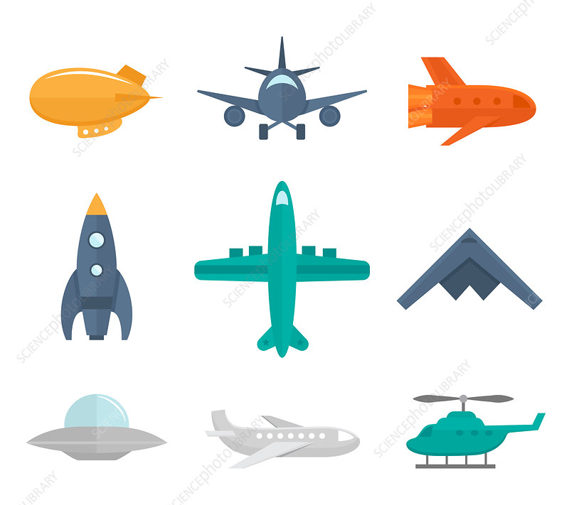 Aircraft icons, illustration