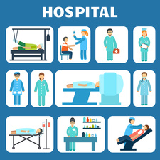 Hospital icons, illustration