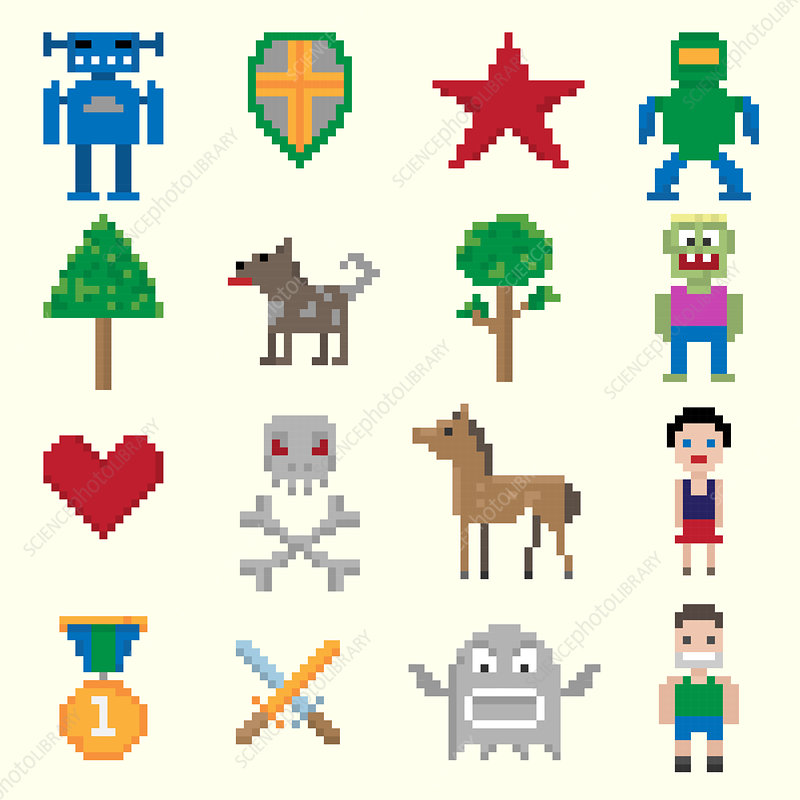 Video game icons, illustration