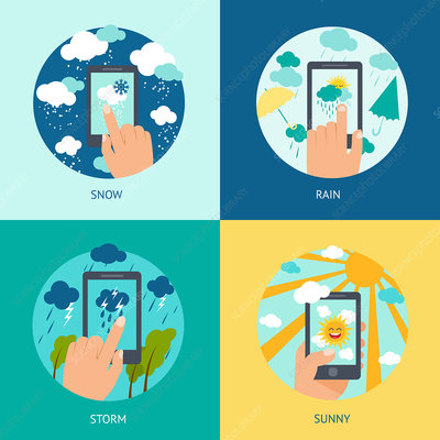 Weather forecast app, illustration