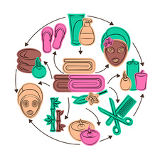 Wellness icons, illustration