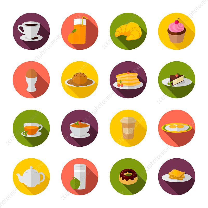Breakfast icons, illustration