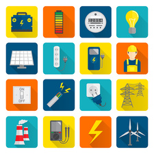 Power distribution icons, illustration