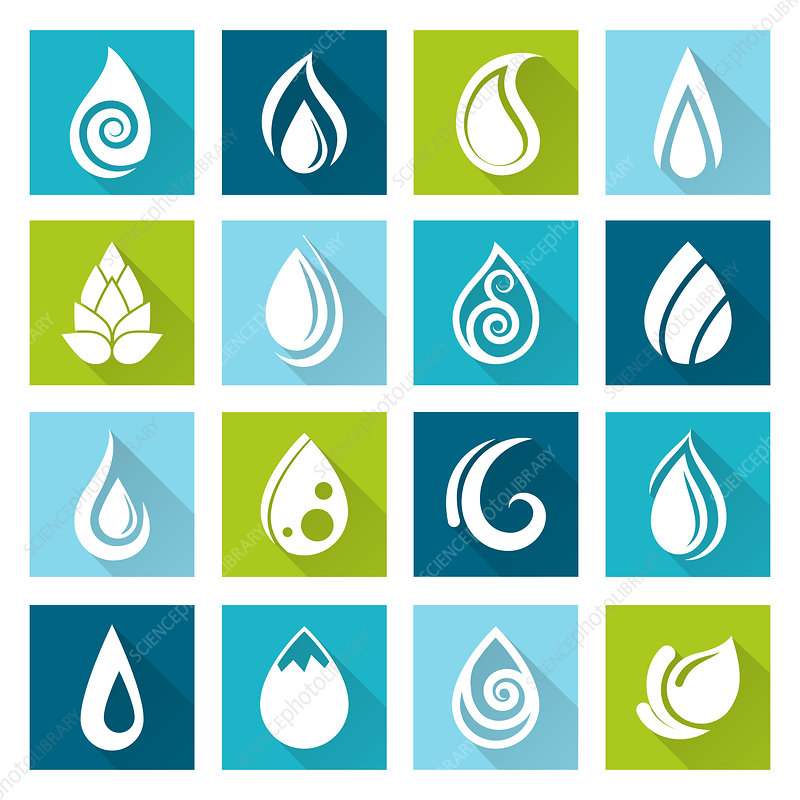 Water drop icons, illustration