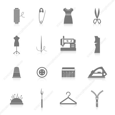Sewing icons, illustration