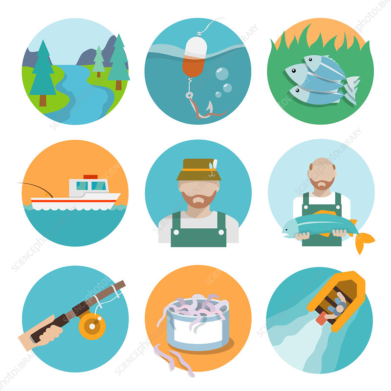Fishing icons, illustration