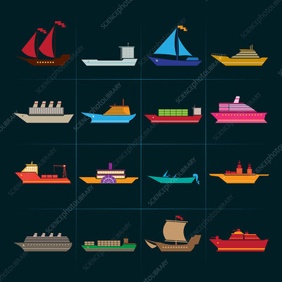 Boat and ship icons, illustration