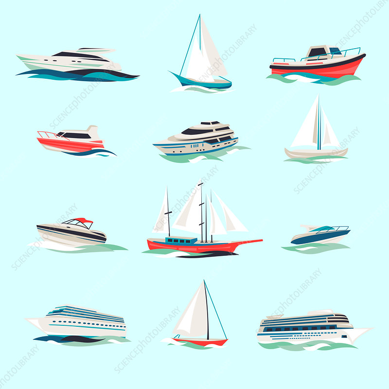 Ships and boats, illustration