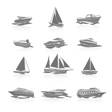 Ship and boat icons, illustration