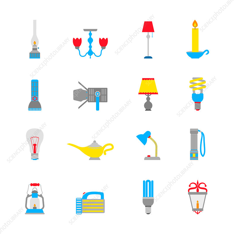 Light and lamp icons, illustration