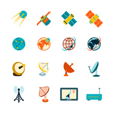 Satellite icons, illustration