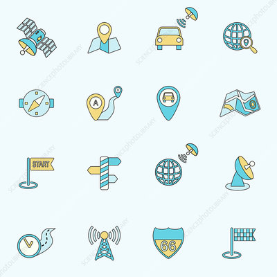 Navigation icons, illustration
