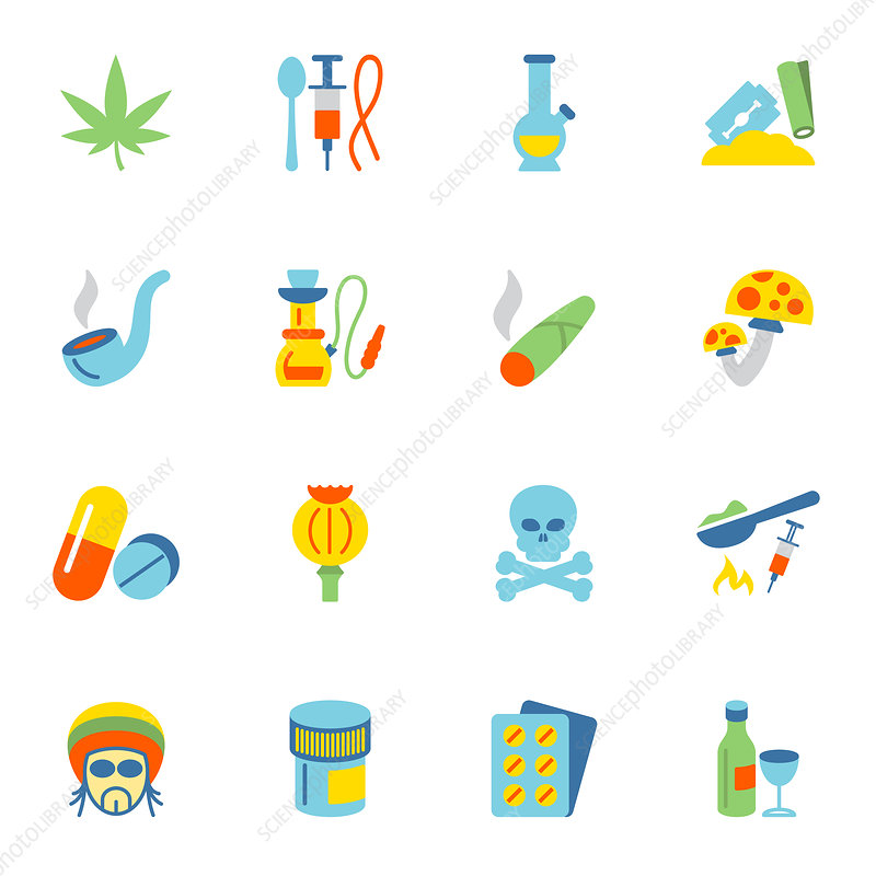 Drug icons, illustration