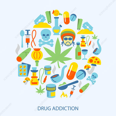 Drug addiction, illustration
