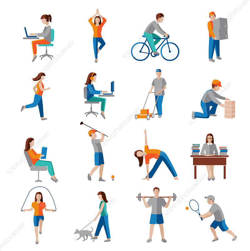 Physical activity icons, illustration