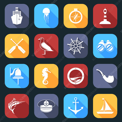 Nautical icons, illustration